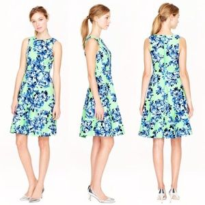 J Crew Green and Blue Floral Dress